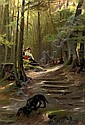 The nosy Dachshound: a sunny spot in the woods, Karl Raupp, Click for value