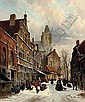 Numerous figures in a Dutch street in winter, Adrianus Eversen, Click for value