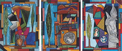 Untitled (Landscape with jug) signed and dated 'Italo Scanga 1988' (lower right) acrylic and gouache on paper in artist frame 45¾ x 35½ in. (116.2 x 90.2 cm.) Painted in 1988. Untitled (Tree and coin) signed and dated 'Italo Scanga 1989'