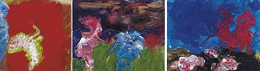 Red Figure with Blue Creature signed 'Robert Beauchamp' (lower right) oil on paper 23 x 30 in. (58.4 x 76.2 cm.) Painted in 1969-1970. Red Horse with Figures signed 'Robert Beauchamp' (lower left) oil on paper 23 x 29 in. (58.4 x 73.7 cm.)