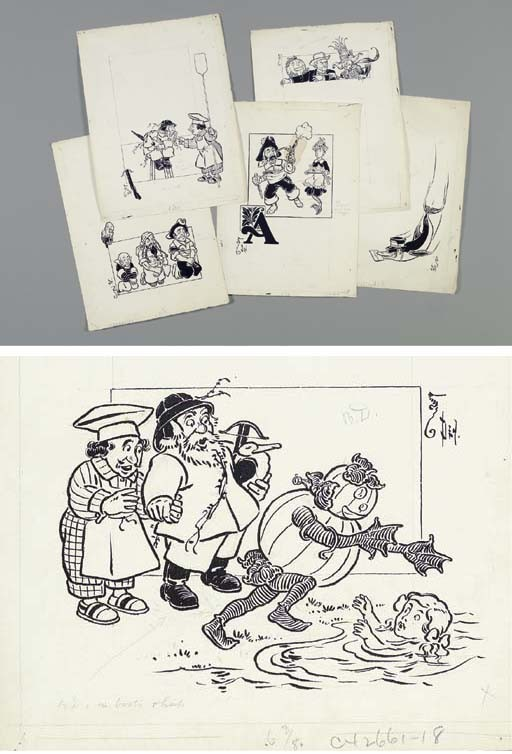 DENSLOW, William Wallace (1856-1915). Six original pen-and-ink drawings for <I>The Pearl and the</I>