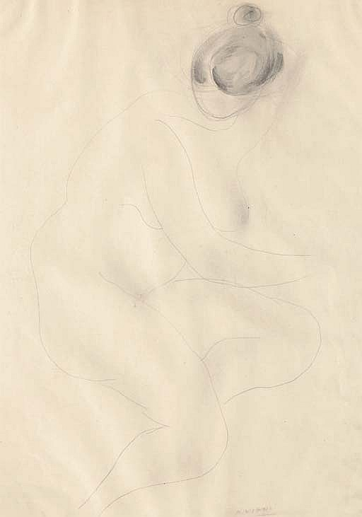 Lotto di due opere: a) Nudo di donna firmato e datato A. Viani 44 (in basso a destra) matita e acquarello su carta cm 44,5x31,6 Eseguito nel 1944 b) Bozzetto firmato e datato A. Viani 72 (in basso a destra) inchiostro su carta cm 66x43,5