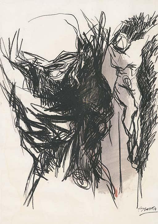 Lotto di due opere: a) Nudo firmato e datato A. Murer 68 (in basso a destra) inchiostro e tempera su carta cm 48x66 Eseguito nel 1968 b) Crocefissione firmato e datato Murer, 64 (in basso a destra) pastelli e acquarello su cartoncino cm
