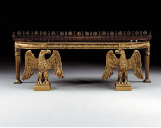 A REGENCY GILTWOOD, GILT-COMPOSITION AND FAUX PORPHYRY CONSOLE TABLE