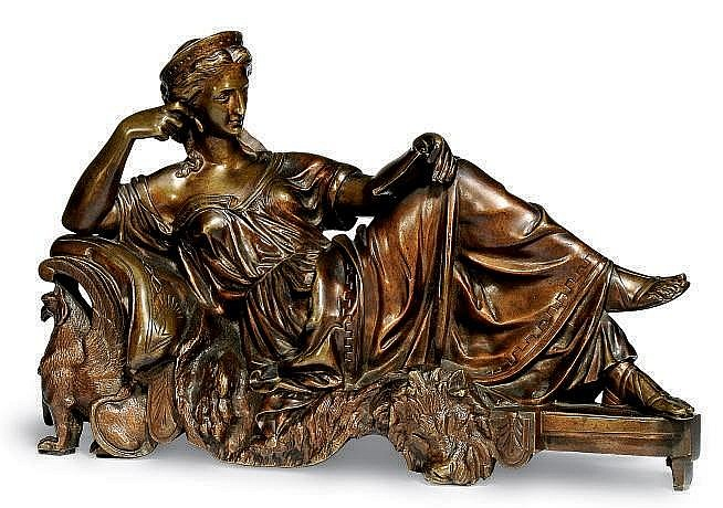 A FRENCH BRONZE FIGURE OF A RECLINING CLASSICAL WOMAN