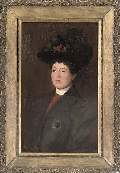 Portrait of a lady, quarter-length, in a green coat and hat