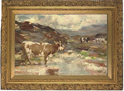 Cattle in a highland landscape