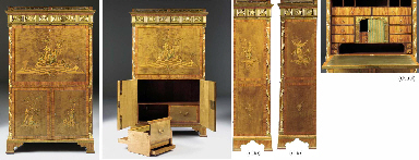 A GERMAN NEOCLASSIC ORMOLU-MOUNTED SYCAMORE, BURR YEW, STAINED TULIPWOOD AND MARQUETRY SECRETAIRE A ABATTANT
