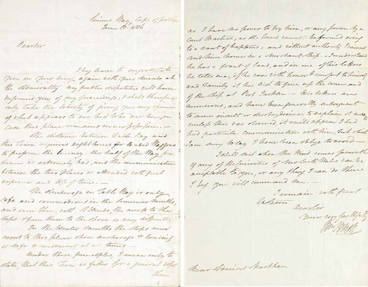 BLIGH, William (1754-1817). Autograph letter signed ('Wm Bligh') to Rear Admiral [John] Markham