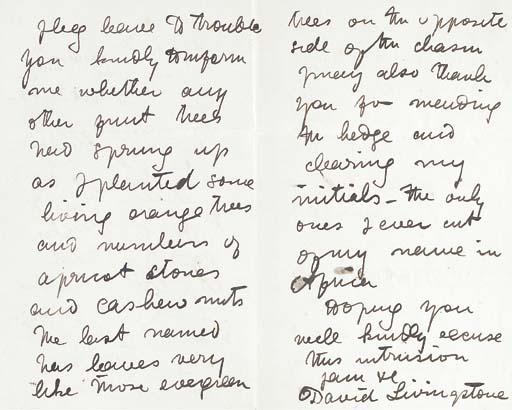 LIVINGSTONE, David (1813-1873). Autograph letter signed ('David Livingstone') to Sir Richard