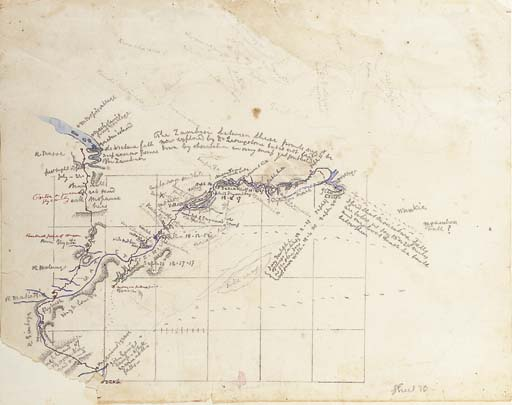 BAINES, Thomas (1822-1875). Autograph manuscript route traverse completed in the field and