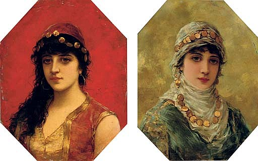 Portrait of a woman in a white head scarf; and Portrait of a woman in a red tunic with gold trim
