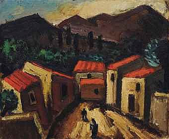 Josef Herman, R.A. (1911-2000) Mountain Landscape with Village, Spain