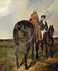 A horse held by a mounted groom, in a landscape, Alfred Dedreux, Click for value