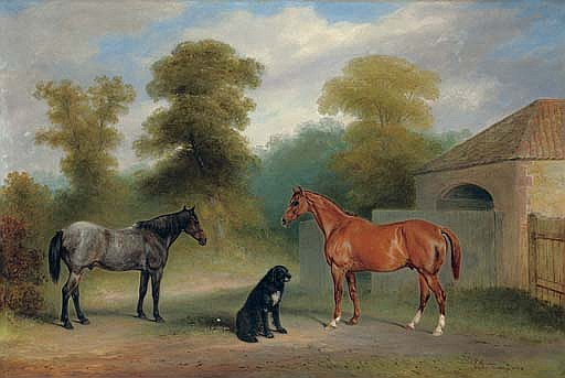A chestnut hunter with a roan pony and dog before a stable