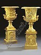 A PAIR OF EMPIRE ORMOLU TWO-HANDLED CAMPANA URNS, Pierre-Paul Prud'hon, Click for value