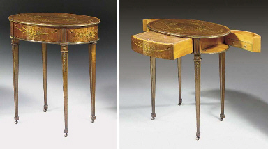 A GERMAN ORMOLU-MOUNTED SYCAMORE AND MARQUETRY TABLE A CRIRE