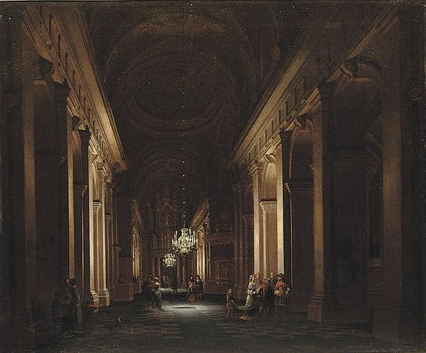 A classical church interior with elegant figures conversing by candlelight