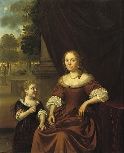 Portrait of a lady, three-quarter-length, in a brown dress and pearl necklace, seated by a table, a girl by her side holding a flower, a park landscape beyond