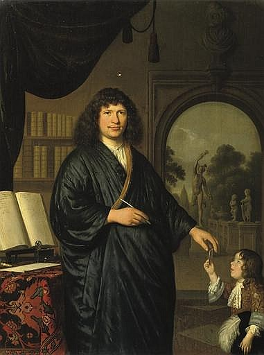 Portrait of a gentleman, three-quarter-length, in a 'Japansche rok', standing in a library, giving a messenger a letter