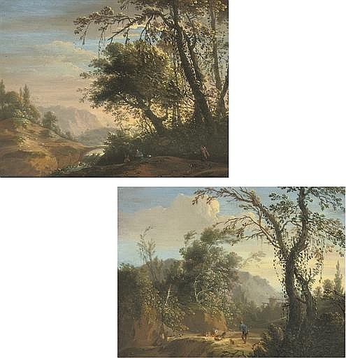 An Italianate river landscape with travellers; and An Italianate landscape with a shepherd and his flock