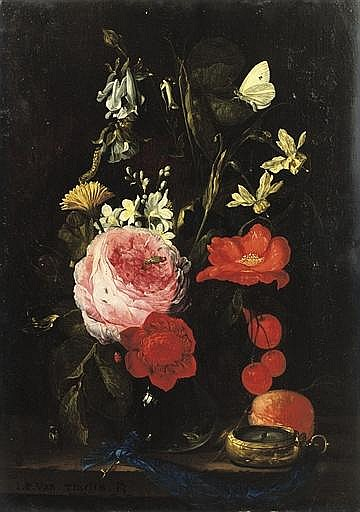 A rose, an anemone, a marigold, narcissi and other flowers in a glass vase with a brass-cased watch on a blue key-ribbon on a wooden table