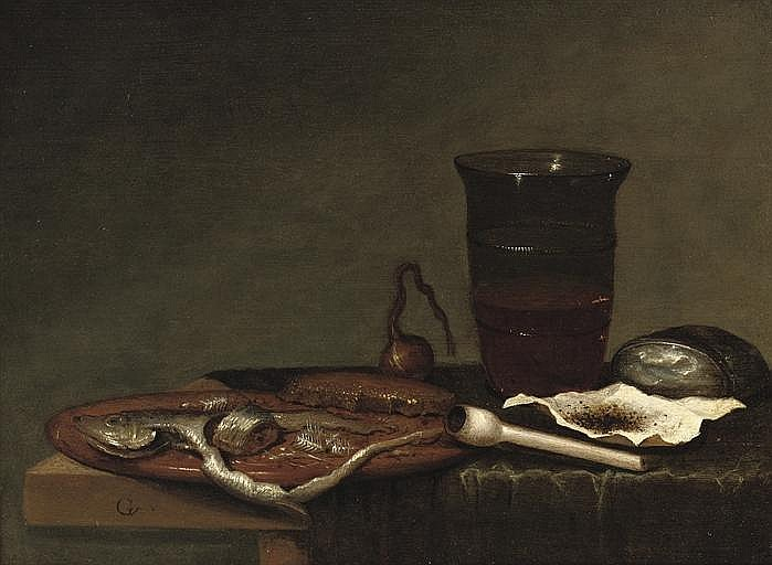A glass of beer, a pipe with tobacco and a sliced herring, all on a partially draped table