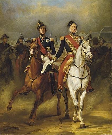 Louis-Philippe et le duc d'Orléans devant le château de Versailles