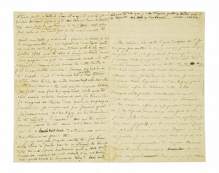 SAND, George (1804-1876). Lettre autographe signée