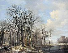 A winter landscape with hunters on a path along a stream