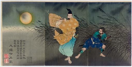 Fujiwara no Yasumasa gekka roteki zu (Fujiwara no Yasumasa playing the flute by moonlight)