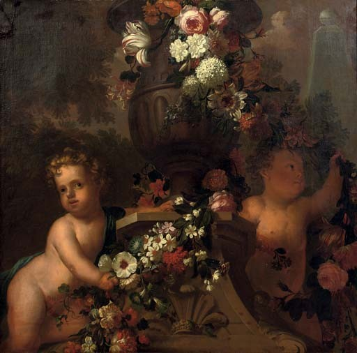 Putti playing with garlands of flowers by a classical urn in a park landscape