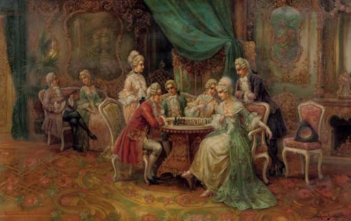 A game of chess in a rococo interior