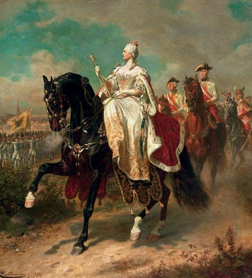 Empress Maria Theresia on horseback inspecting Austrian troops
