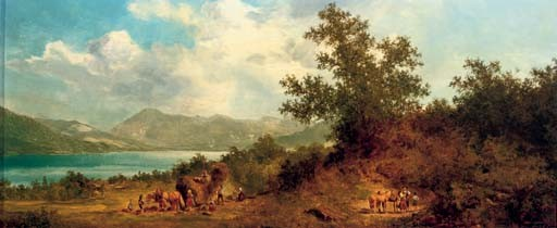 A haywain on the shore of Lake Starnberger