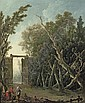 A wooded garden with a gate and figures in the foreground, Jacques Nicolas Julliard, Click for value