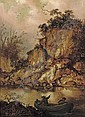 A rocky river landscape with two hunters in a rowing boat, Jacobus Sibrandi Mancadan, Click for value