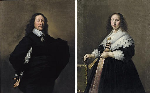 Portrait of a gentleman, three-quarter-length, in a black costume with a white chemise and collar; and Portrait of a lady, three-quarter-length, in a pink embroidered dress and black coat with white cuffs and collar standing by a chair holding a