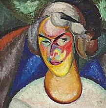 Alexander Bogomazov (1880-1930) Portrait of Wanda Monastirskaia-Bgomazova (
