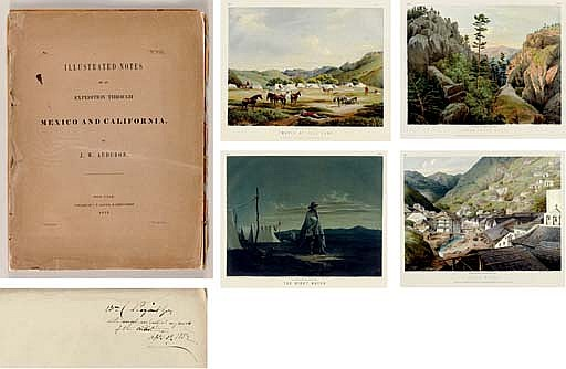 AUDUBON, John Woodhouse (1819-1862).  Illustrated Notes of an Expedition through Mexico and California . New York: H. Ludwig for J.W. Audubon, 1852.