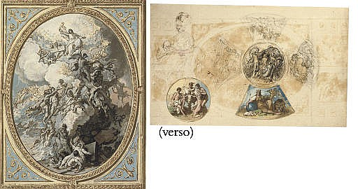 Design for the ceiling decoration of the Royal Chapel, Windsor Castle, with The Last Judgement, centre, the Evangelists Matthew and Mark, above, and the Evangelists Luke and John, below ( recto ); Designs for the ceiling decoration of the Royal