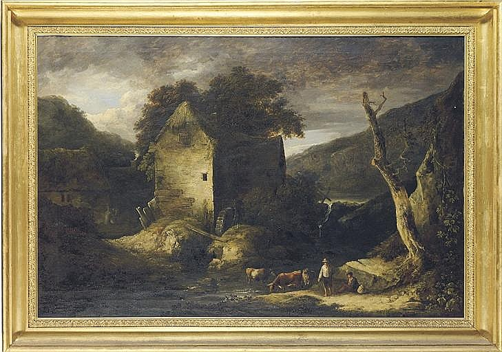 A pastoral landscape with a watermill, figures and cattle in the foreground