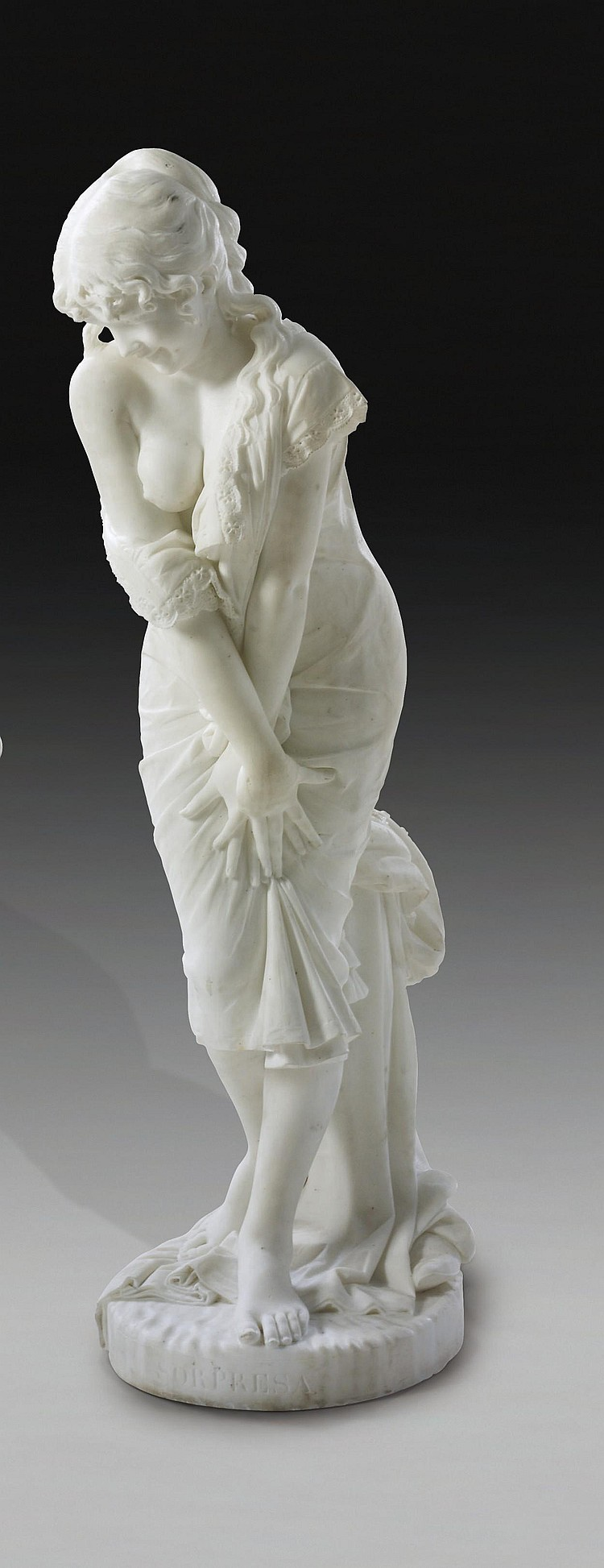 AN ITALIAN MARBLE FIGURE ENTITLED 'LA SORPRESA' (THE SURPRISE)