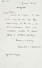 """CHURCHILL, Winston S. Autograph letter signed (""""Winston S. Churchill""""), to James B. Pond, Russia House, Toronto, 29 December 1900. 1 page, 8vo ."""