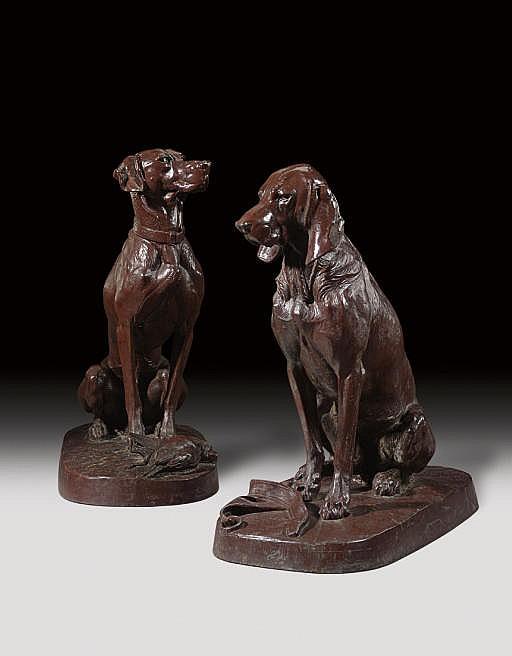 Deux chiens assis