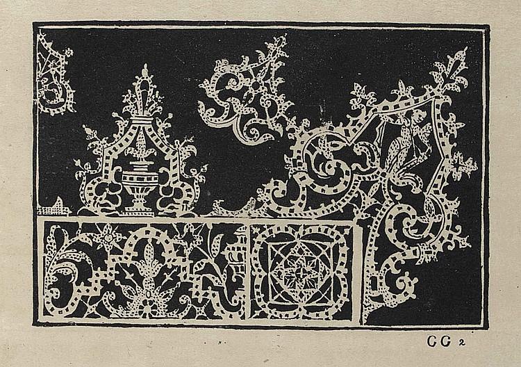 VECELLIO, Cesare (1521-1601). Corona delle nobili et virtuose donne . [Part IV: Gioiello della Corona per le nobili, et virtuose donne, libro quarto ]. Venice: printed by the author, 1592. [Part IV: Heredi di Cesare Vecellio , 1608, but