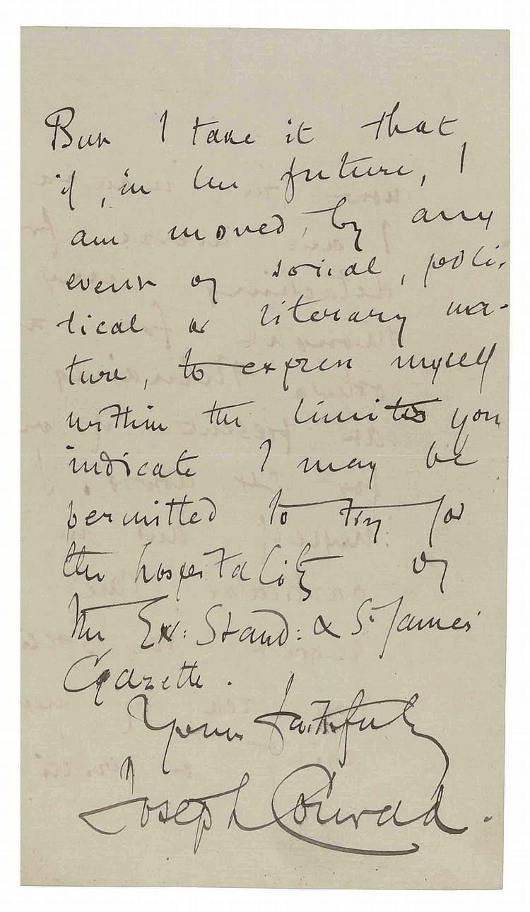 CONRAD, Joseph (1857-1924). Autograph letter signed ('Joseph Conrad') to [?Byron Curtis, editor of the Evening Standard & St James' Gazette ], Capri, 8 March 1905, declining to write an article, 'my next novel being now in incubation I am averse