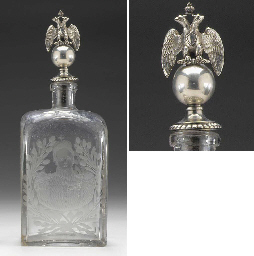 A SILVER-GILT MOUNTED GLASS DECANTER AND STOPPER