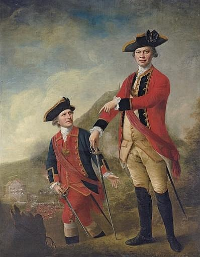 Double portrait of Lieutenant-General the Hon. Philip Sherard and Captain William Tiffin, at the Battle of Brücke-Mühle, 21 September 1762, the former full-length in the uniform of the 1st Regiment of Foot Guards, the latter
