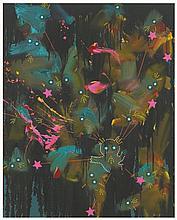 FIONA RAE (B. 1963)  Mysterious Force  oil and acrylic on canvas  24 x 19.
